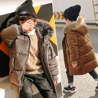 男童金�z�q棉衣冬�b2017新款�n版加厚羽�q棉�和�外套中�L款潮