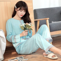 韩版长袖可爱女士纯棉绸绵绸家居服春秋季人造棉布睡衣薄款夏套装