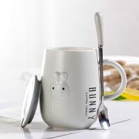 创意韩国可爱陶瓷马克杯带盖勺卡通喝水杯女生家用早餐牛奶喝水杯