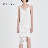 MOCO夏季新品吊带两件套拼接蕾丝连衣裙MA182DRS209 摩安珂