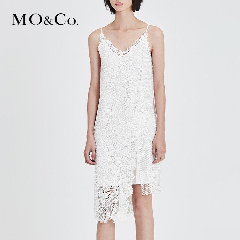 MOCO夏季新品吊带两件套拼接蕾丝连衣裙MA182DRS209 摩安珂 满399包邮 个性蕾丝拼接 两件套设计