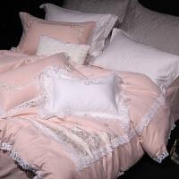 家纺冬季公主风绣花四件套纯棉磨毛加厚保暖粉色结婚庆床品拉绒4件套 浪漫情调