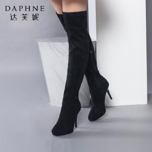 Daphne/达芙妮正品女鞋冬季圆头高跟女靴子布靴 过膝女高筒靴长靴