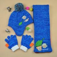 儿童小童中童冬加绒保暖护耳帽围巾套装 男童帽子围巾手套三件套