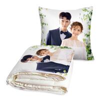 来图定制作双面照片diy可爱枕头创意汽车载折叠抱枕被子两用毯子 米黄色