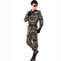 男士迷彩服套装户外军迷服装多袋迷彩工作服工装制服 剪刀花迷彩