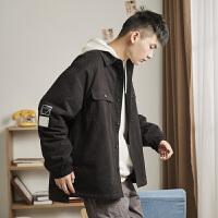 [2.5折价125.3元】唐狮新款秋冬男士夹棉衬衫领工装外套韩版潮流学生休闲夹克