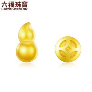 六福珠宝足金葫芦黄金耳钉耳饰GDG50018