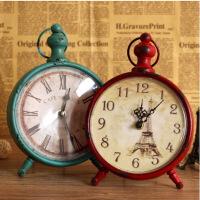 普润 复古铁艺挂钟 时尚欧式客厅卧室装饰品创意静音时钟表 绿色P4107