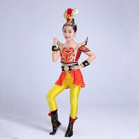 儿童表演服装女演出服裙亮片古装武术表演服民族儿童古典舞演出服