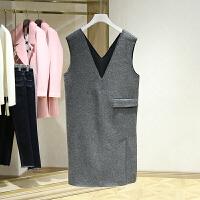 冬装新款 韩版纯色双V领无袖毛呢连衣裙 品牌女装折扣店