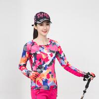 速干上衣女长袖户外套装圆领t恤薄 透气夏季运动登山徒步快干衣裤 花红 单件送头巾