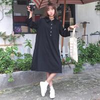 春装新款女装韩版宽松黑色一排扣POLO领长款T恤裙学生休闲连衣裙