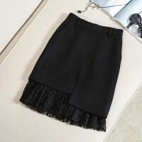 秋冬中长款毛呢半身裙高腰新款不规则开叉蕾丝黑色一步包臀百褶裙