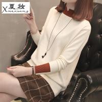 夏妆打底毛衣女套头短款宽松韩版秋冬针织衫长袖半高领打底衫