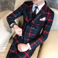 发型师潮男士西装三件套男士韩版修身双排扣格子新郎结婚西服套装 +马甲