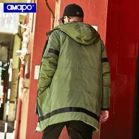 【限时秒杀价:259元】AMAPO潮牌大码男装冬季胖子加肥加大码宽松嘻哈保暖羽绒服外套男