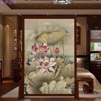 中式半透明屏风实木家具玄关客厅隔断酒店办公室屏风莲花风水座屏 组装