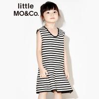 【折后价:279.6】littlemoco女童U型领套头无袖低腰伞摆条纹针织背心裙KA171DRS307