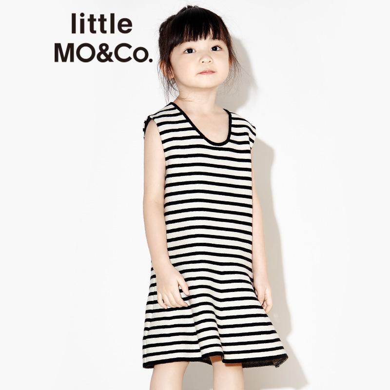 littlemoco女童U型领套头无袖低腰伞摆条纹针织背心裙KA171DRS307 A字型裙摆 条纹针织面料