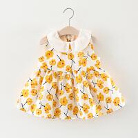 女童裙子夏季儿童娃娃领花朵连衣裙婴儿宝宝夏装公主裙女