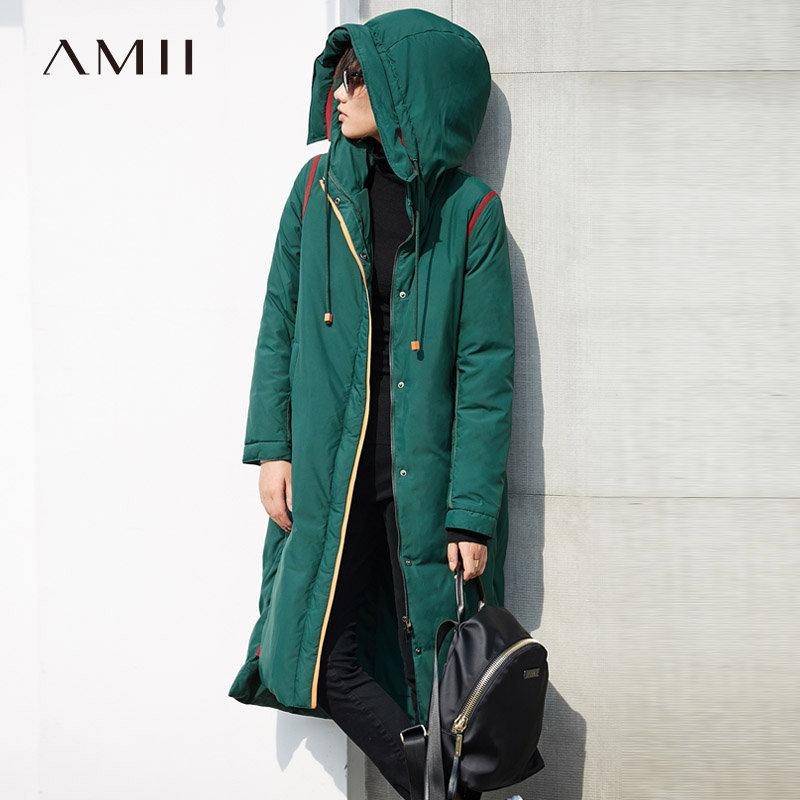 【到手价481元】Amii极简韩版时尚90白鸭绒撞色连帽羽绒服女2018冬新保暖长款外套.