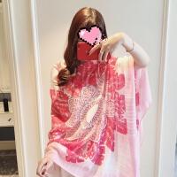 小溜家2018夏季新款丝巾女百搭空调防晒披肩粉色花朵纱巾棉麻围巾 粉色