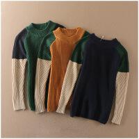 冬季圆领打底衫拼色长袖保暖套头针织衫女P6-10382