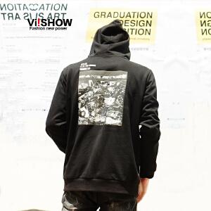 VIISHOW2017秋装新品休闲卫衣男连帽衫后背个性图案休闲男士外套