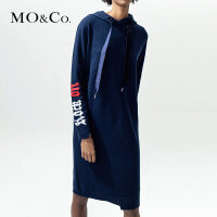 MOCO连帽抽绳中长款长袖针织连衣裙MA173DRS308 摩安珂