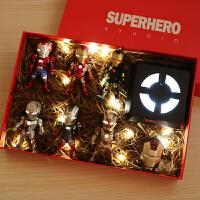 q版钢铁侠手办模型全套 漫威周边摆件复仇者联盟玩具生日礼物礼盒