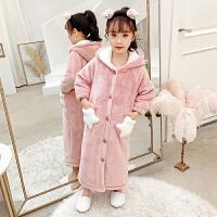 儿童浴袍珊瑚绒睡袍法兰绒秋冬季双层女童睡裙