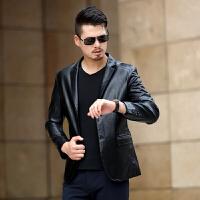 男士真皮皮衣秋冬外套韩版修身短款皮西服中青年皮夹克休闲外套潮 黑色 5/S