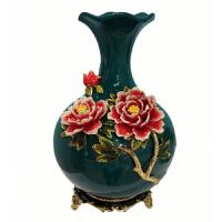 花瓶客厅装饰摆件家居珐琅牡丹花陶瓷花瓶简约现代玄关洒店