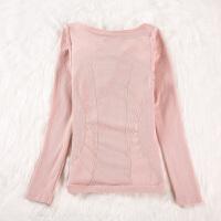 秋冬女士保暖内衣加厚加绒V领修身发热带胸垫美体上衣长袖打底衫