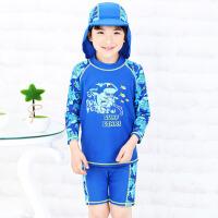 男生冲浪服 儿童男童分体泳衣长袖中大童泳装速干游泳衣 12 码