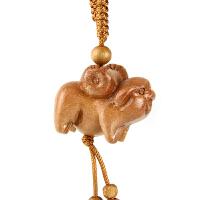 十二生肖鼠牛虎兔龙马羊猴鸡狗猪桃木属相立体雕刻饰品钥匙扣挂件