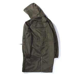 【限时抢购到手价:156元】AMAPO潮牌大码男装 中长款风衣男士连帽外套薄款纯色上衣秋季新品