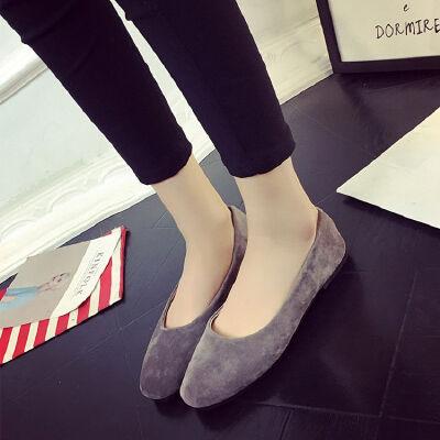ELEISE美国艾蕾莎新品156-003韩版磨砂绒面平跟女士单鞋