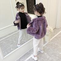 女童秋冬外套皮毛一体冬季洋气加绒短款上衣潮