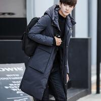 长款过膝加厚羽绒服男韩版修身2017冬季新款潮流男士中长连帽外套