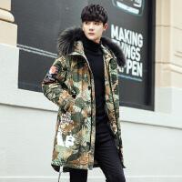 新款羽绒服男士冬季中长款迷彩外套青年修身加厚连帽韩版 绿迷彩 M