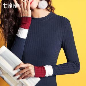 七格格撞色拼接t恤女长袖韩版秋冬秋季装新款百搭2017套头上衣打底衫