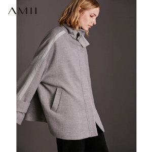 【品牌团 1件7折/2件5折】Amii[极简主义]帅气睿智感 立领毛呢外套女 冬季袖袢廓型感上衣