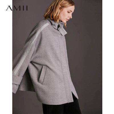 【到手价244元】Amii极简设计感帅气潮立领毛呢外套女2018冬新袖袢修身中长款大衣.