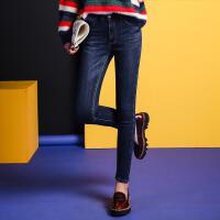 七格格冬新款 深色水洗 修身显瘦加绒铅笔裤牛仔裤 女CL321