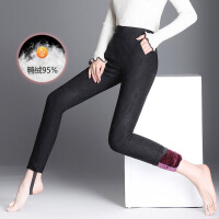羽绒裤女裤冬季新款百搭加绒打底外穿加厚铅笔保暖小脚裤 黑色提花