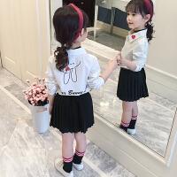 儿童白衬衫春秋2018新款女孩洋气上衣中大童长袖衬衣