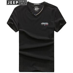 JEEP吉普短袖T恤男2018夏季新品V领棉质透气运动汗衫男装微弹舒适半袖t恤男