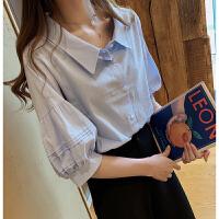 2019夏装新款时尚气质灯笼袖白衬衫女宽松显瘦娃娃衫韩范衬衣上衣